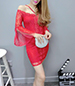 Chiffon Mini Dress – Red Lace / Split Bell Sleeves / Cold Shoulder Style