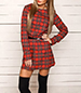 Red Plaid Dress – Slim Black Belt / Round Neckline