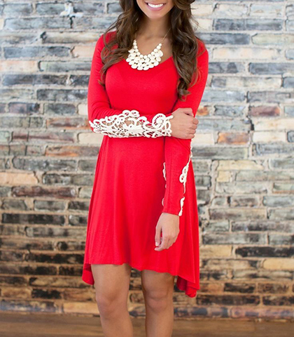 Red Dresses – Lacy Details / Asymmetrical Hemline / Naturally Flowing Effect