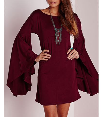 Mini Dress – Deep Maroon / Long Bell Sleeves