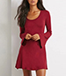 Mini A Line Dress – Solid Red / Long Bell Sleeves
