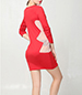 Mini Dress – Red / Contrasting Geometric Trim / Long Fitted Sleeves