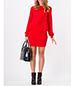 Mini Dress – Red / Fitted Skirt / Long Sleeves / Loosely