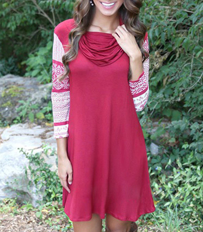 Cowl Neck Mini Dress – Rosy Red / White Sleeves