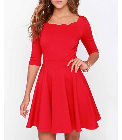 Red Skater Dress Three Quarter Length Sleeves Scalloped Neckline