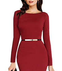 Mermaid Midi Dress – Deep Currant Red / Narrow Belt