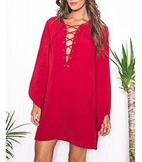Red Mini Shift Dress – Lace Detail