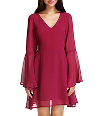 Red Chiffon Mini Dress – Long Sleeves / Double-Layered Ruffles