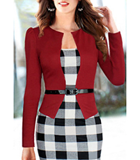 Knee Length Dress – Red Jacket / Black Leatherette Belt