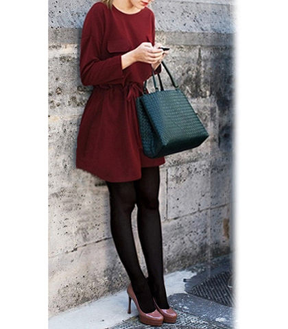 Flowing Fit and Flare Dress – Long Sleeves / Pleated Skirt / Wine Red