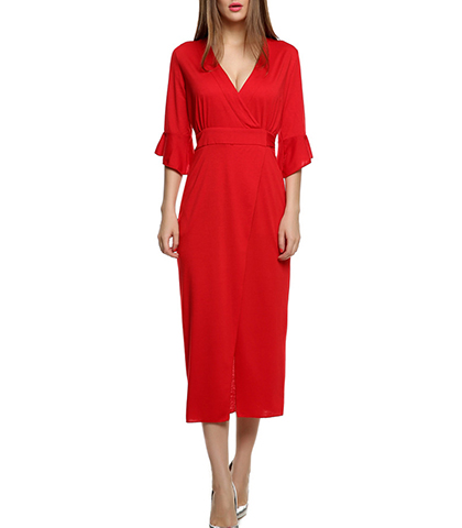 Red Shift Dress – Wraparound Waist / Ruffled Sleeves / Long