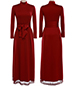 Dramatic Maxi Dress – Long Sleeve / Wine Red / High Collar / Belted Waist
