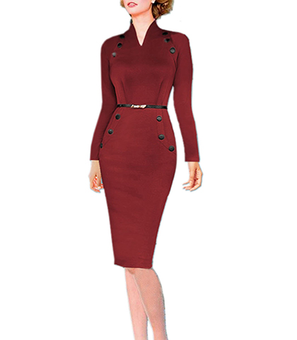 1940's Inspired Knee Length Dress – Fitted Collar / Long Sleeves / Belted Waist / Red