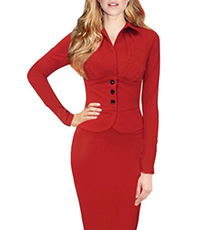 Fitted Midi Peplum Dress – Red / Pointed Collar