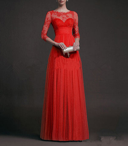 Evening Gown – Long Sleeve Maxi Style / Red / Lace