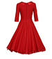 Midi-Length Vintage Dress – Red / Full Skirt / Wide Panel Waistline