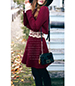 Fit and Flare Mini Dress – Long Sleeves / Maroon / White Lace Waistline