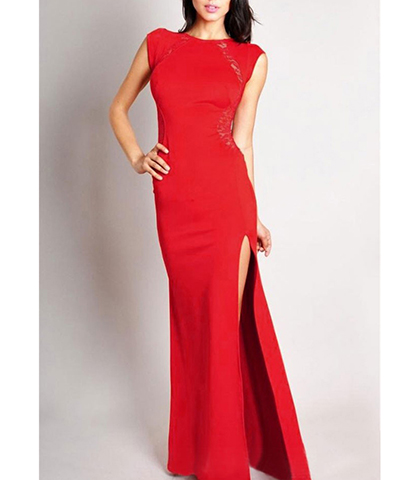 Red Formal Dress – Thigh High Slit / Cap Sleeves