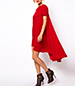 Red Cape Dress – Hi – Lo Hemline / Short Sleeves