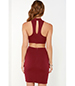 Red Bodycon Dress – High Collar / Side Cutouts
