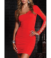 One Shoulder Red Dress – Open Shoulder / Laced Up Long Sleeve / Tapered Waist