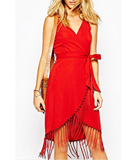 Red Wrap Dress – V-Neckline / Sash Tie / Overlapping Hem / Fringed Detail