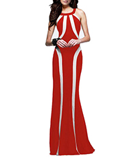 Red Halter Dress – Floor Length / Bold Colors / Tapered Body / Trim Waist