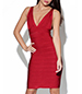 Red Bandage Dress – Tight Fitting / Plunging Neckline / Horizontal Texture Fabric
