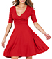 Fit and Flare Dress – Elbow Length Gathered Sleeves / Banded Waist / Red
