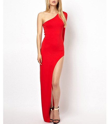 One Shoulder Red Dress – Raised Hemline / Large Slit / Exposed Leg / Tight Fitting