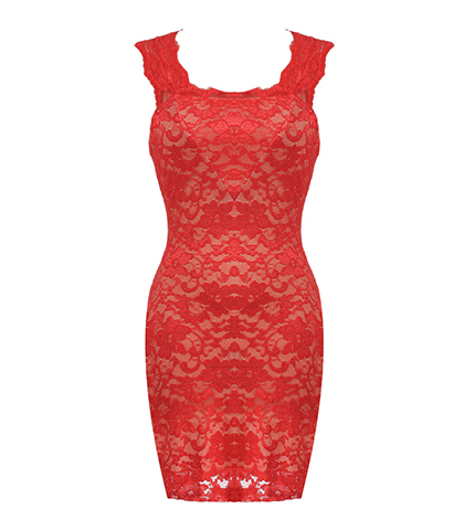 Lace Sheath Dress – Red Lined Floral Lace / Bodycon Style
