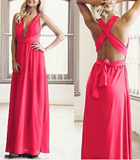 Red Summer Maxi Dress – Traditional Halter Style Front Plunges