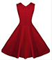 Red Vintage Dress – Fitted Empire Bodice / Gathered Bust Insert