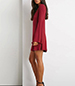 Bias Cut Swing Dress – Long Trumpet Sleeves / Wine Red / Flared Hemline