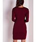 Wine Red Bodycon Dress – Mini Hemline / Long Fitted Sleeves