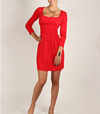 Empire Waist Dress – Square Neckline / Red / Banded Empire Waist / Loose Hemline
