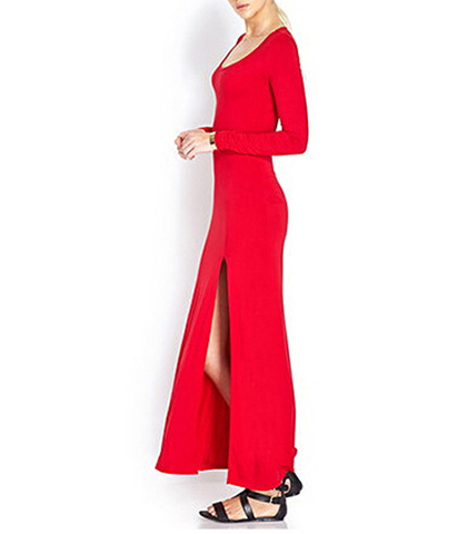 Long Gown – Bright Red / Long Sleeves / Split Hemline / Circle Open Back