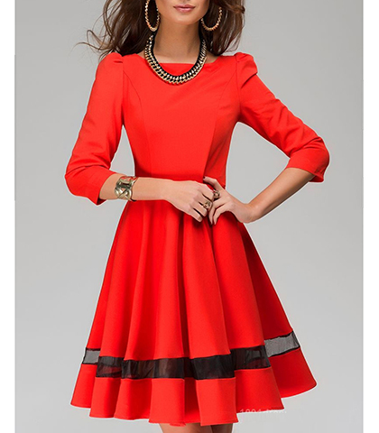 Fit and Flare Dress – Red / Black Organza Insert / Bateau Neckline