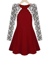 Fit and Flare Dress – Red Knit / White Lace / Jewel Neckline