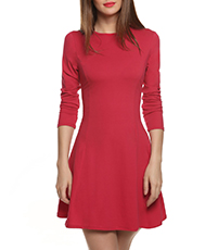 Red Skater Dress – Long Sleeves / Round Neckline / Wide Hemline / Princess Style Seams