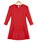 Red Tulip Dress – Pleated Skirt / Bracelet Length Sleeves / Princess Seams