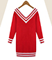 University Sweater Dress – Red / Wide V-Neck / Striped Accents / Dropped Sleeves