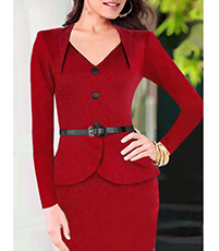 Knee Length Red Peplum Dress – Two Piece Appearance / Petal Waist Style / Vented Back