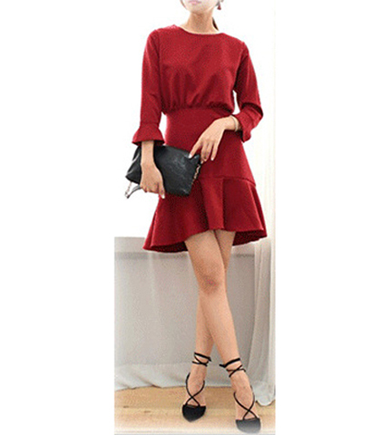 Red Tweed Dress – Trumpet Sleeves / Gathered Bodice / Fluted Hemline / Straight Skirt