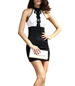 Halter Mini Dress – Lace Bodice Detail / Black and White / High Waist