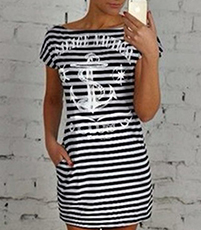 Summer Dress – Short Sleeves / Anchor Design / Horizontal Stripes / Boat Neck