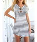 Short Sleeved Striped Dress – White Black / Curved Hemline / Round Neckline / Soft Cotton