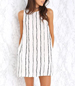Sleeveless Shift Dress – Vertical Stripes / Round Trimmed Neckline / Button Loop Closure