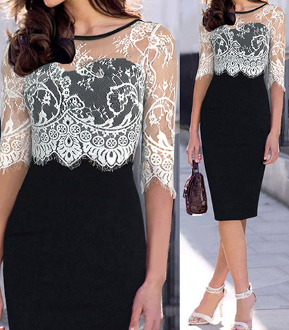 Evening Lace Dress – Attached Lace Blouse / Sweetheart Bodice / Semi-Sheer / Bottom Vent