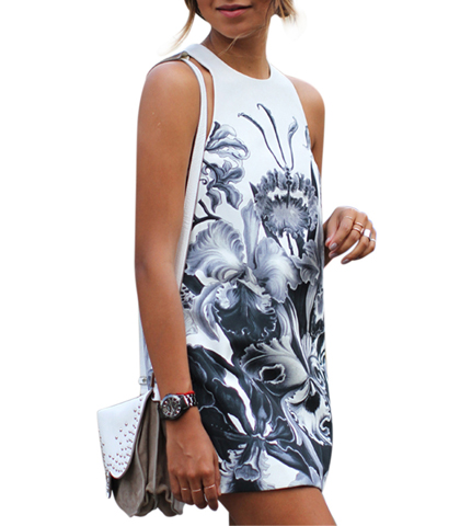Floral Mini Dress – Black White / Deep Cut Tank Styling